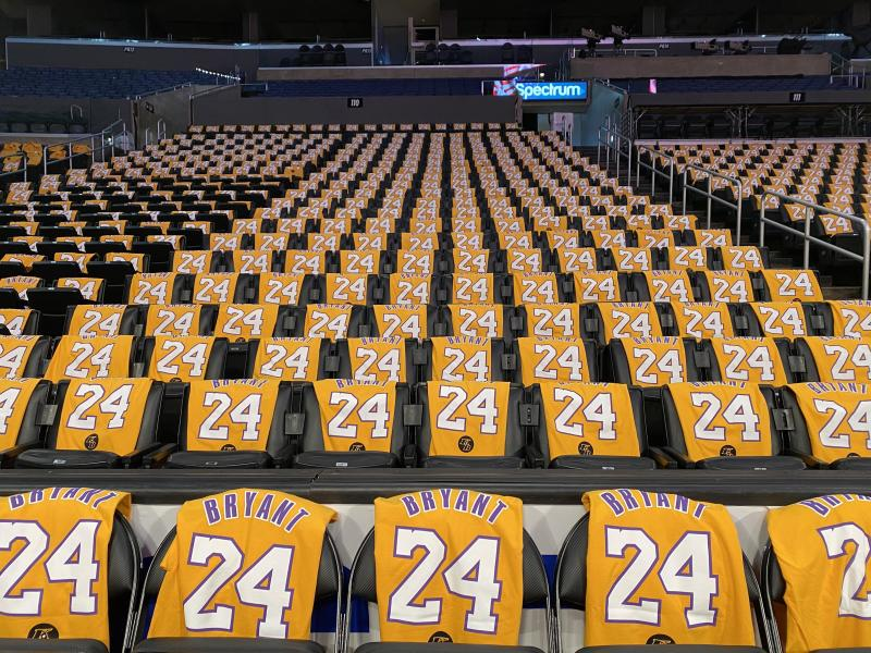 Jan 31, 2020; Los Angeles, California, USA; Kobe Bryant shirts are set on seats inside the Staples Center in advance of the Los Angeles Lakers game against the Portland Trail Blazers. Former Lakers star Kobe Bryant was killed in a helicopter crash on Sunday. Mandatory Credit: Sandy Hooper-USA TODAY Sports