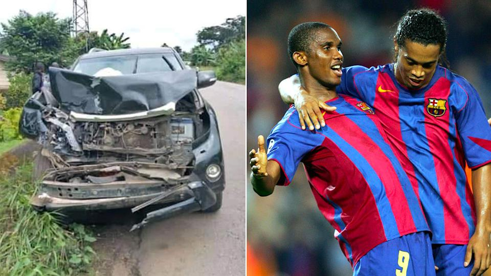 Pictured here, the car Samuel Eto'o was driving when he was involved in a nasty accident.