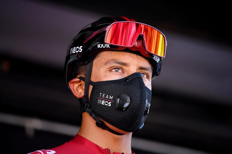 BEZIERS FRANCE  AUGUST 01 Start  Egan Bernal of Colombia and Team Ineos  Covid Safe measures  Team Presentation  during the 44th La Route dOccitanie  La Depeche du Midi 2020 Stage 1 a 187km stage from Saint Affrique to Cazouls ls Bziers  RouteOccitanie  RDO2020  on August 01 2020 in Beziers France Photo by Justin SetterfieldGetty Images