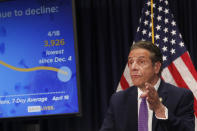 Gov. Andrew Cuomo speaks during a news conference in New York on Monday, April 19, 2021. New York's comptroller has asked the state attorney general's office to launch a criminal investigation into whether the governor used state resources to write and promote his book on leadership in the COVID-19 pandemic. (Shannon Stapleton/Pool via AP)