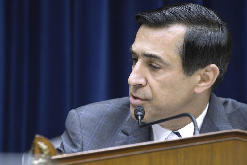 FILE - In this June 2, 2011 photo, House Oversight and Government Reform Committee Chairman Rep. Darrell Issa, R-Calif., speaks on Capitol Hill in Washington.  Issa is finding himself in the spotlight as a target as well as the Republicans' chief inquisitor in investigations of the Obama administration that are producing potential GOP campaign issues for 2012.  (AP Photo/Harry Hamburg)
