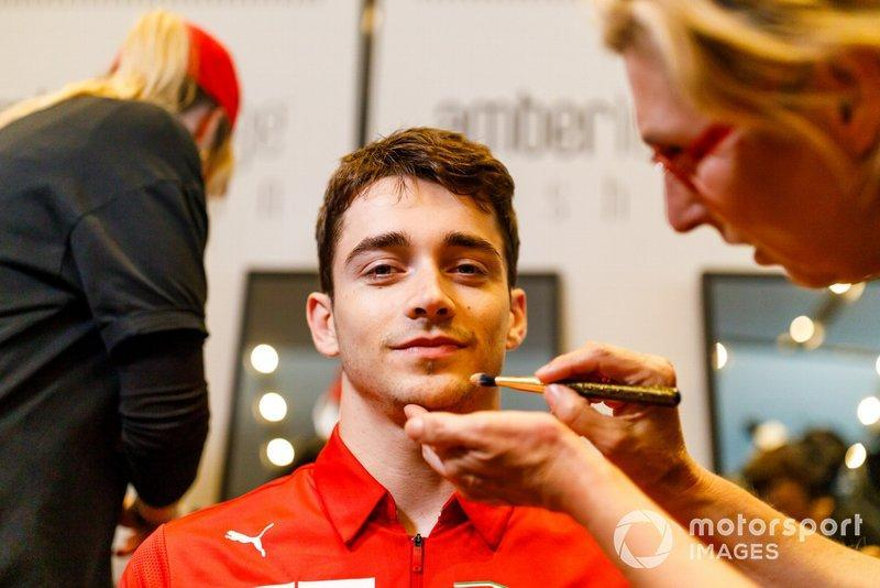 """Charles Leclerc, Ferrari, has his make up done<span class=""""copyright"""">Jerry Andre / Sutton Images</span>"""