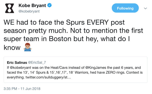 Kobe Bryant compares the Celtics to the Warriors again. (Twitter)