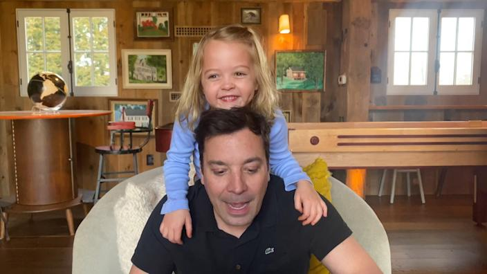 "Jimmy Fallon seen taping ""The Tonight Show At Home"" with his daughter, Frances."