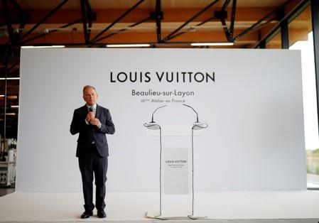 Louis Vuitton's CEO Michael Burke attends the inauguration of a Vuitton new high-end garment factory in Beaulieu-sur-Layon