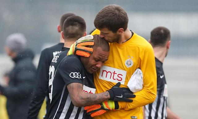 "<span class=""element-image__caption"">A tearful Everton Luiz is comforted by his Partizan Belgrade team-mate Filip Kljajic as he left the pitch in tears at the racist abuse he suffered during the derby against FK Rad. </span> <span class=""element-image__credit"">Photograph: Stringer/Reuters</span>"