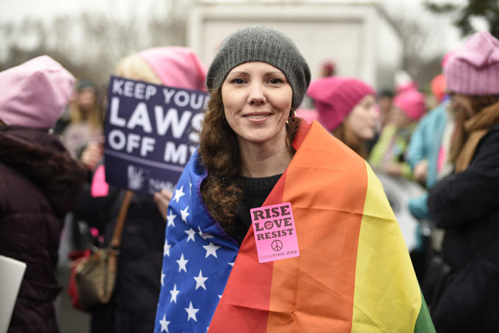 <p>Nicole Monceaux from New York City attends the Women's March on Washington on Saturday, Jan. 21, 2017 in Washington, on the first full day of Donald Trump's presidency. (AP Photo/Sait Serkan Gurbuz) </p>