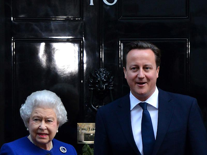 Former prime minister David Cameron greets the Queen outside Number 10 Downing Street, 18 December, 2012: AFP/Getty Images