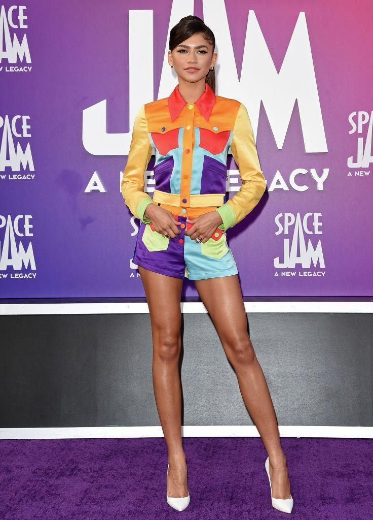 <p>The actress - who voices Lola Bunny in the upcoming remake of Space Jam, this time featuring LeBron James as the star basketball player - brightened up the purple carpet wearing a multi-coloured jacket and short co-ord by Moschino paired with Bulgari jewellery.</p>