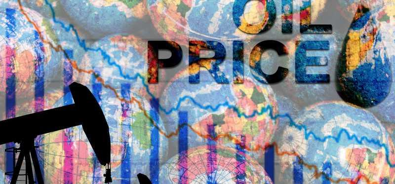 A silhouette of oil pumps with globes in the background and the word oil price written at the top.