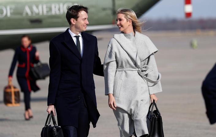 White House advisers Jared Kushner and Ivanka Trump walk to Air Force One to depart for Argentina and the G-20 Summit with President Trump at Joint Base Andrews in Maryland on Nov. 29, 2018. (Photo: Kevin Lamarque/Reuters)
