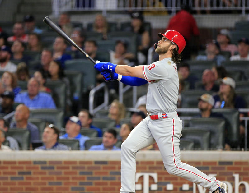 ATLANTA, GA - SEPTEMBER 18: Philadelphia Phillies Outfield Bryce Harper (3) hits a home run during the MLB game between the Atlanta Braves and the Philadelphia Phillies on September 18, 2019 at SunTrust Park in Atlanta, GA.(Photo by Jeff Robinson/Icon Sportswire via Getty Images)