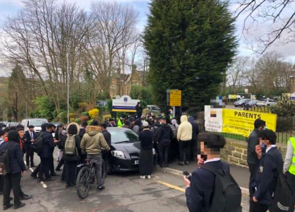 Protests took place outside Batley Grammar School in west Yorkshire this morning. (Reach)