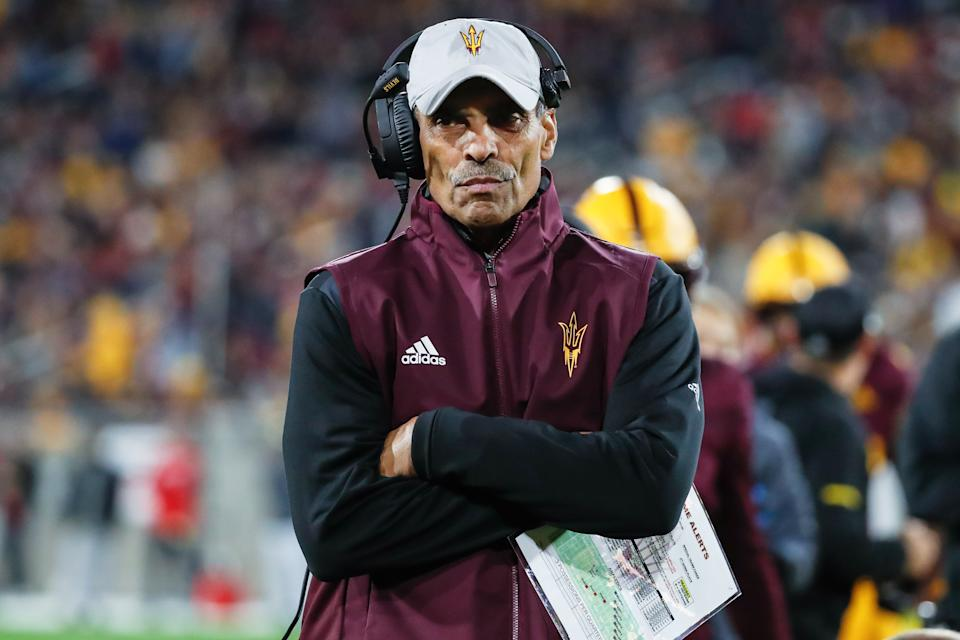 TEMPE, AZ - NOVEMBER 30:  Arizona State Sun Devils head coach Herm Edwards looks on during the college football game between the Arizona Wildcats and the Arizona State Sun Devils on November 30, 2019 at Sun Devil Stadium in Tempe, Arizona. (Photo by Kevin Abele/Icon Sportswire via Getty Images)