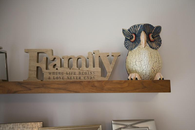 An ornamental owl sits on a shelf in the house for sale that starred onscreen as Harry Potter's childhood home in the town of Bracknell, England, just over 30 miles (50 kms) west of central London, Tuesday, Sept. 20, 2016. Fans of the boy wizard will recognize the exterior as the fictional address of 4 Privet Drive, home of Harry's dastardly aunt and uncle, the Dursleys, who made him sleep in a cupboard under the stairs. The 3-bedroom house is being sold by real estate agent Chancellors with an asking price of 475,000 pounds ($616,000). (AP Photo/Matt Dunham)