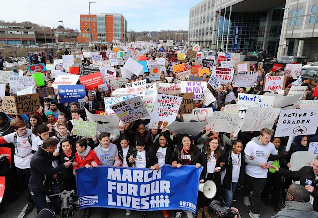 <p>Students marched down Tremont Street past the Boston Police headquarters to Boston Common during the 'March for Our Lives' rally in Boston, Massachusetts. (John Tlumacki/Globe Staff via Getty Images) </p>