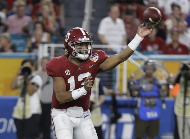 <p>2018 — Alabama's Tua Tagovailoa (205.19) and Oklahoma's Kyler Murray (199.20) are both poised to break Mayfield's efficiency record. They led the two highest-scoring offenses in the nation, finished 1-2 in Heisman voting and played against each other in the College Football Playoff. (Photo credit: AP) </p>