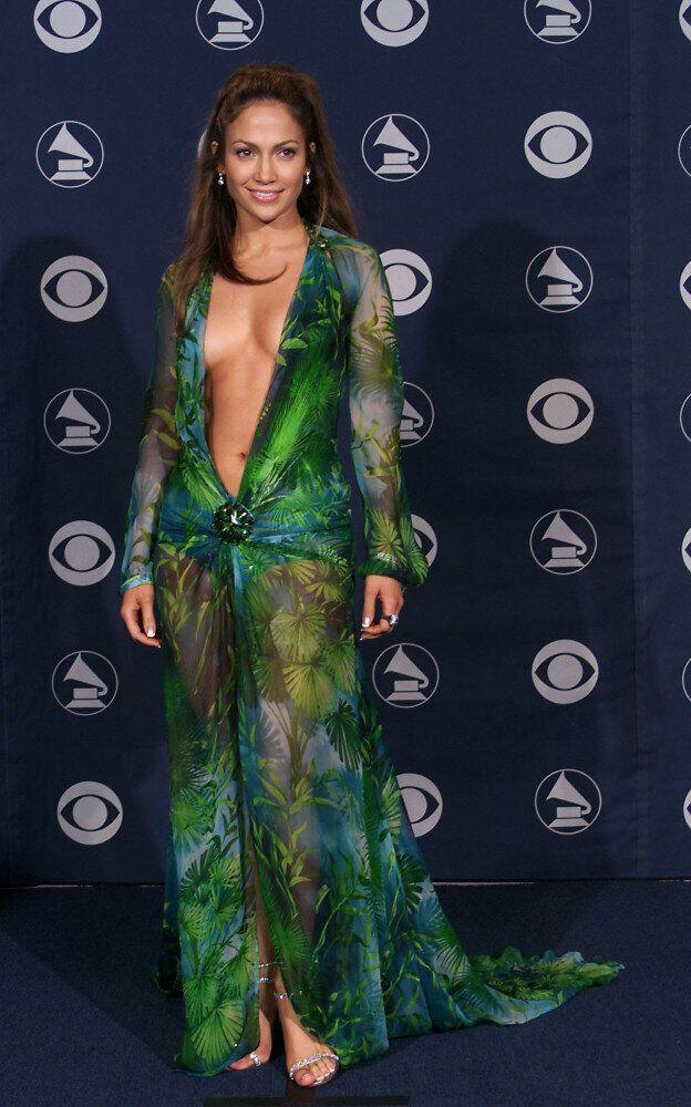 Jennifer Lopez in that Versace dress at the Grammy Awards.