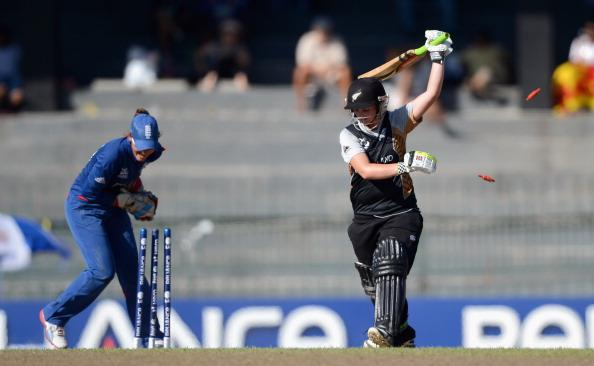 COLOMBO, SRI LANKA - OCTOBER 04:  Katey Martin of New Zealand is stumped England wicketkeeper Sarah Taylor during the ICC Women's World Twenty20 2012 Semi Final between England and New Zealand at R. Premadasa Stadium on October 4, 2012 in Colombo, Sri Lanka.  (Photo by Gareth Copley/Getty Images)