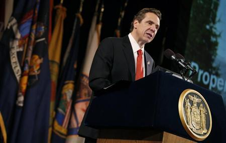 New York State Governor Andrew Cuomo delivers his fourth State of the State address from the New York State Capitol in Albany, New York