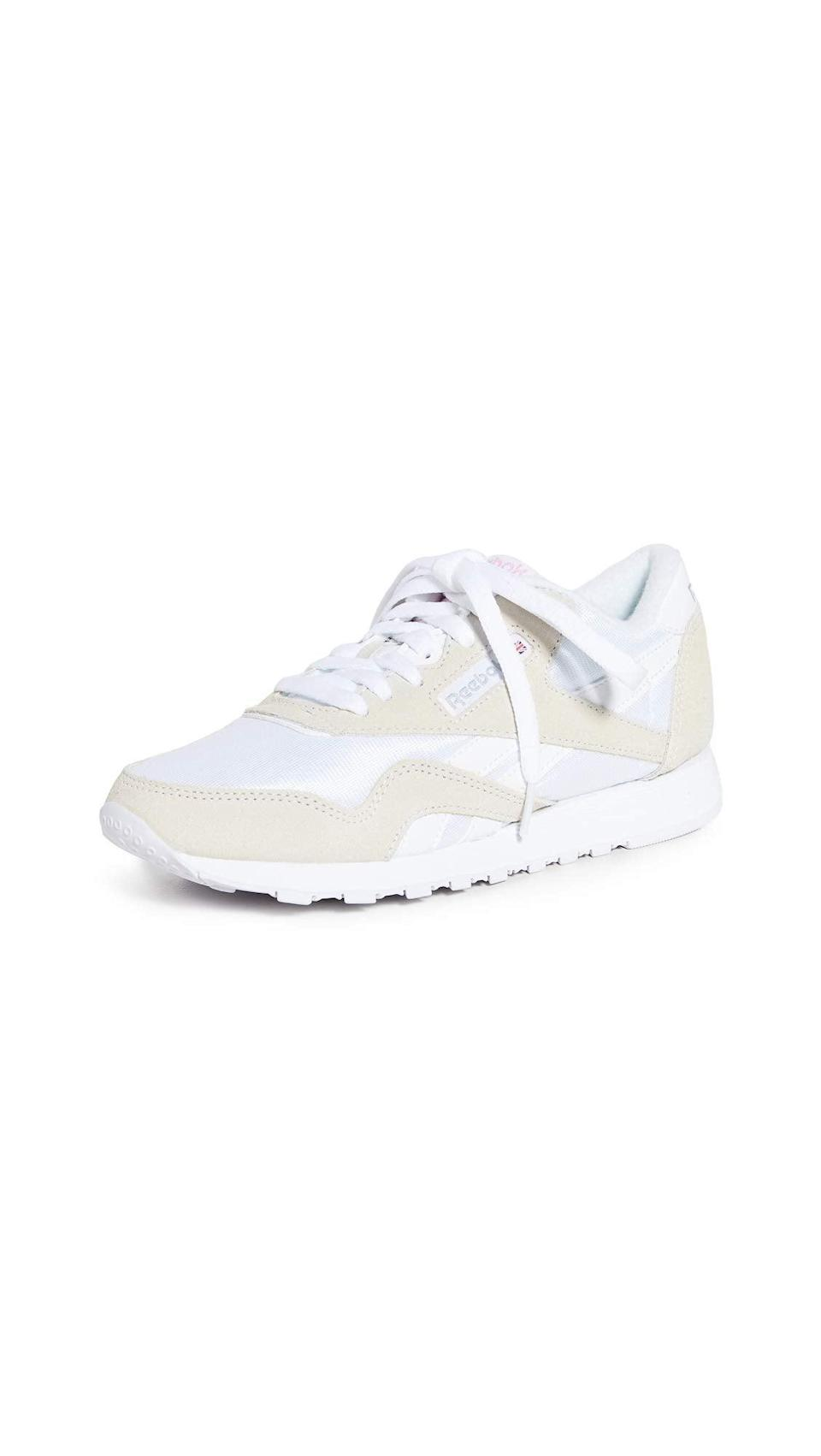 """<h2>Savings on Reebok Sneakers<br></h2><br>Nab your very own pair of dad shoes for up to 40% off during Prime Day with an excellent selection of throwback styles from Reebok.<br><br><em>Shop Reebok at <strong><span>Amazon</span></strong></em><br><br><strong>Reebok</strong> Classic Nylon Sneaker, $, available at <a href=""""https://amzn.to/3zN9Qvi"""" rel=""""nofollow noopener"""" target=""""_blank"""" data-ylk=""""slk:Amazon"""" class=""""link rapid-noclick-resp"""">Amazon</a>"""