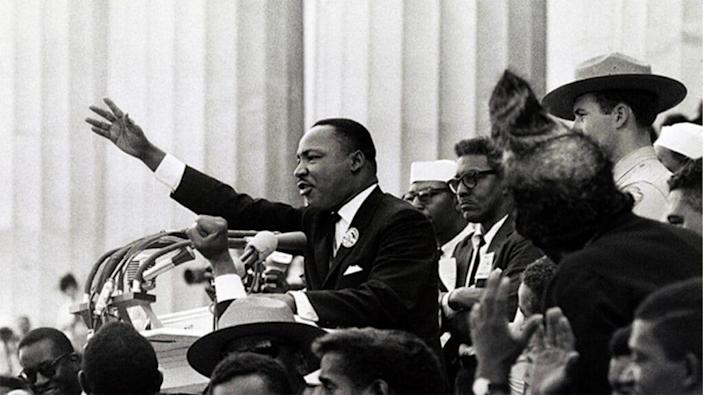 """Martin Luther King delivers the """"I have a dream"""" speech from the podium, August 28, 1963. (Photo: Library of Congress)"""