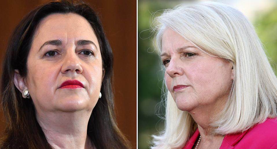 Minister for Home Affairs Karen Andrews (right) went head-to-head with Queensland Premier Annastacia Palaszczuk (left) in a press conference on Wednesday.