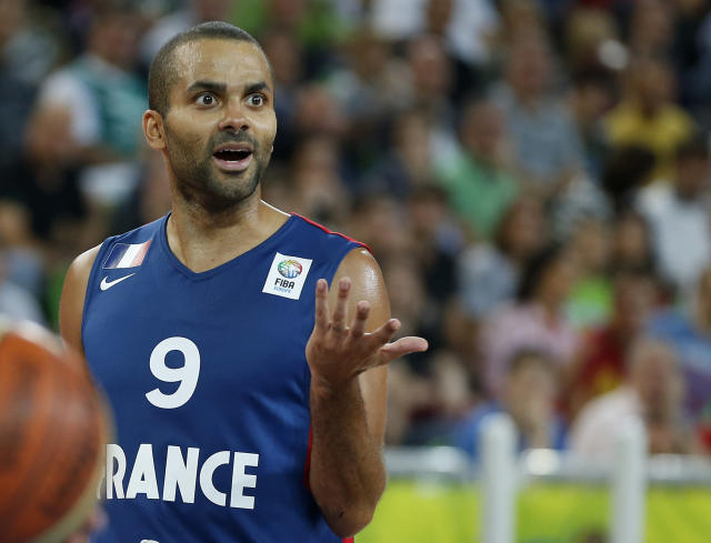 France's Tony Parker gestures during the EuroBasket European Basketball Championship semifinal match against Spain in Ljubljana, Slovenia, Friday, Sept. 20, 2013. (AP Photo/Petr David Josek)