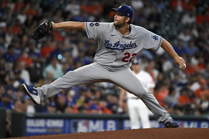 Clayton Kershaw pitches against the Houston Astros.