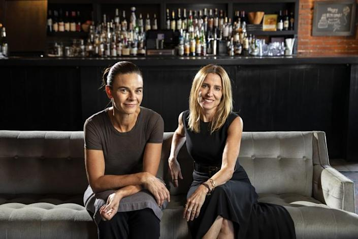"""LOS ANGELES, CA --SEPTEMBER 26, 2018 --Head chef Suzanne Goin, left and owner Caroline Styne, are photographed inside their restaurant, """"Lucques,"""" in Los Angeles, September 26, 2018. (Jay L. Clendenin / Los Angeles Times)"""