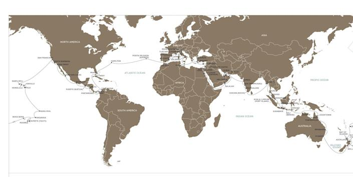 A map of the world cruise's path