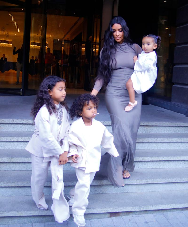 Siblings: Kim with her three older children (SplashNews.com)