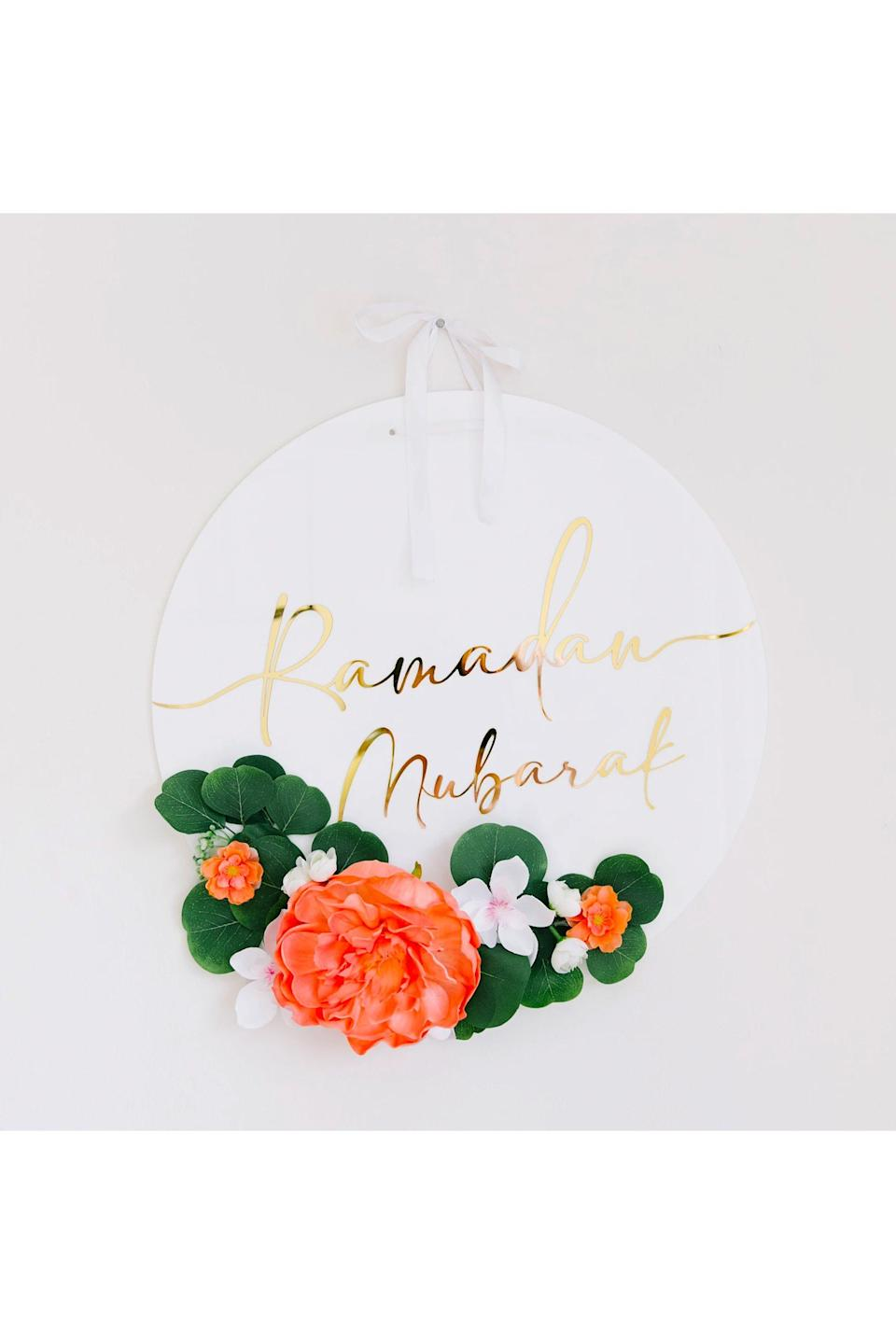 """<p><strong>Amasi Decor</strong></p><p>amasidecor.com</p><p><strong>$45.95</strong></p><p><a href=""""https://amasidecor.com/collections/ramadan/products/ramadan-mubarak-wreath"""" rel=""""nofollow noopener"""" target=""""_blank"""" data-ylk=""""slk:Shop Now"""" class=""""link rapid-noclick-resp"""">Shop Now</a></p><p>So cute you might want to keep it up year-round, this acrylic Ramadan wreath would be the cherry on top of your holiday decor.</p>"""