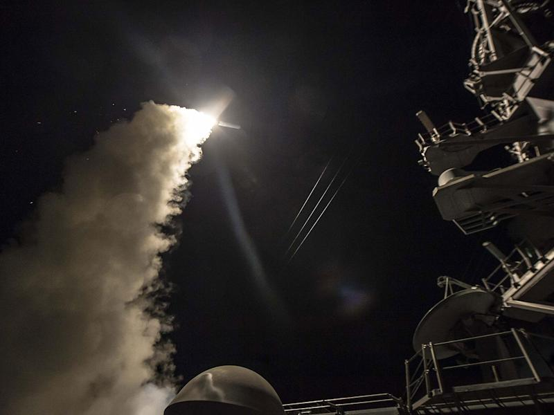 Dozens of Tomahawk cruise missiles were launched from two US Navy ships in the Mediterranean: US Navy