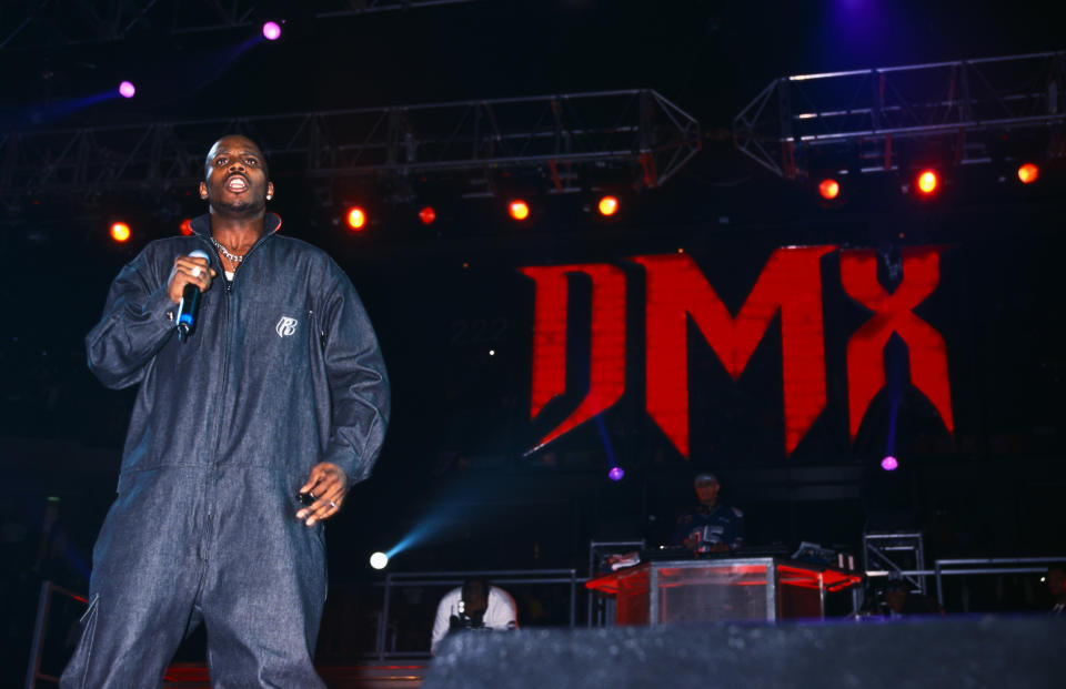 (Original Caption) : DMX performs at the Hard Knock Life Tour at the Continental Airlines Arena.   (Photo by Mitchell Gerber/Corbis/VCG via Getty Images)