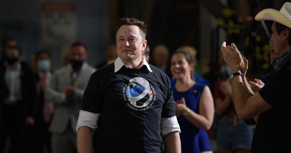 SpaceX founder and CEO Elon Musk and the SpaceX team are recognized by Vice President Mike Pence at NASA's Kennedy Space Center following the launch of the company's Demo-2 mission to the International Space Station on May 30, 2020.