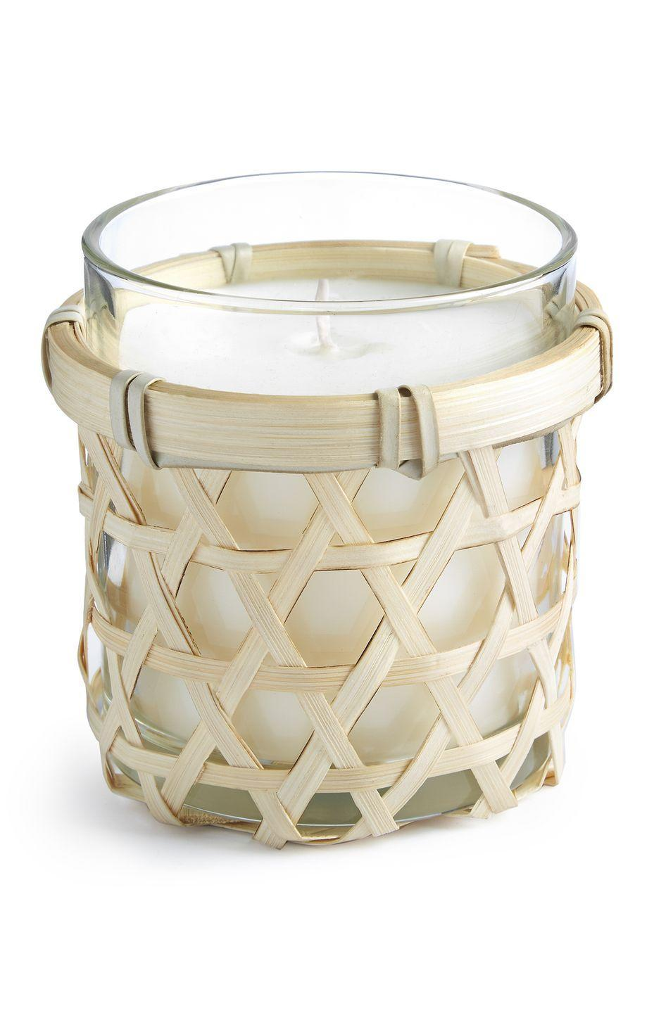 <p>Wicker glass candle, £5.00</p>