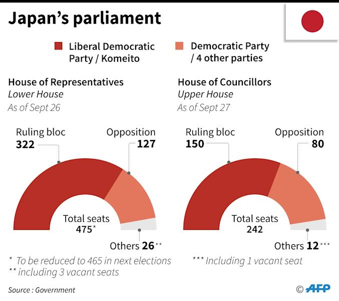 Abe enjoys a clear lead in parliament but only lukewarm support in the country (AFP Photo/Laurence CHU)
