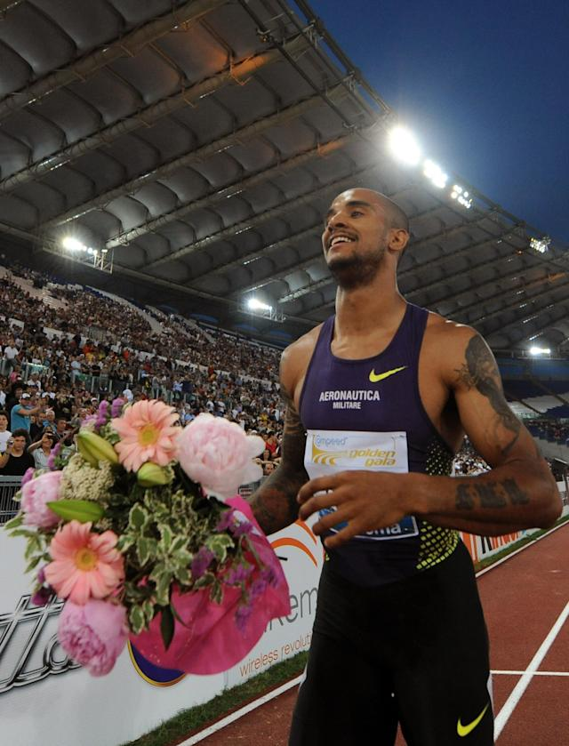 Italian Andrew Howe celebrates after winning the Men's 200m race as part of the Golden Gala event, the third leg of the Diamond League series meeting at Olympic stadium in Rome on May 26, 2011. AFP PHOTO / TIZIANA FABI (Photo credit should read TIZIANA FABI/AFP/Getty Images)