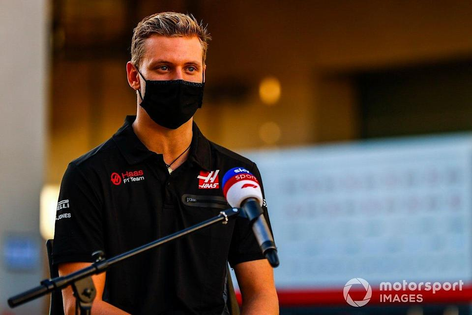 """Mick Schumacher, Haas F1, is interviewed for Sky Sports F1<span class=""""copyright"""">Andy Hone / Motorsport Images</span>"""