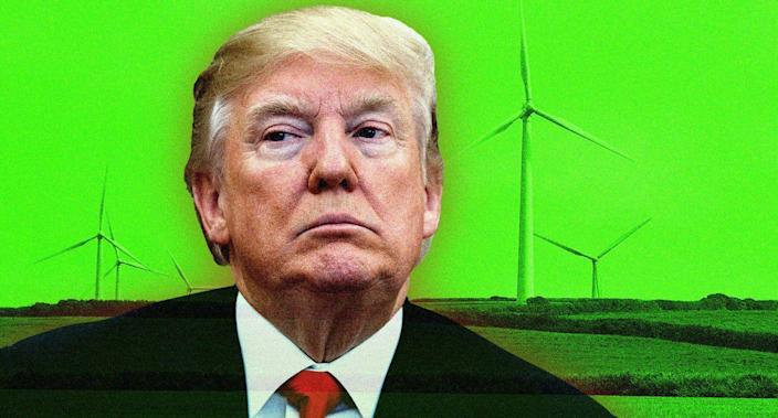 Donald Trump and a wind farm. (Photo illustration: Yahoo News; photos: AP, Getty Images)