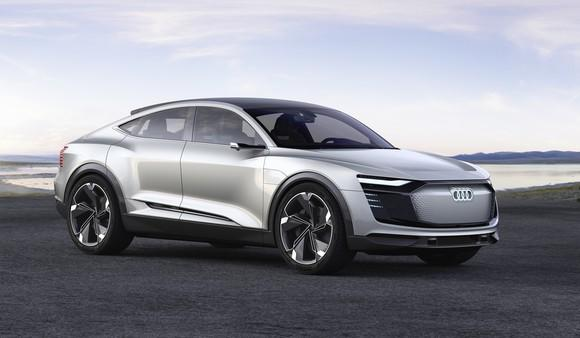 The Audi e-tron Sportback, a battery-electric SUV with a low-slung, coupe-like roofline, shown parked near a lake.