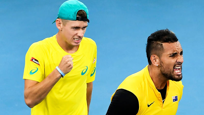 Nick Kyrgios, right, has described Alex de Minaur's injury enforced withdrawal from the Australian Open as 'heartbreaking'.