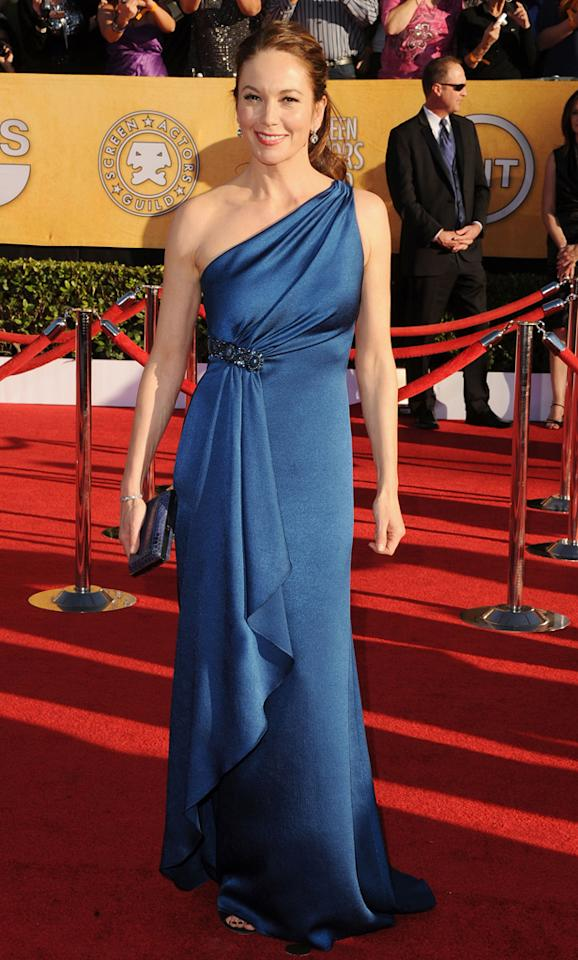 Diane Lane (in David Meister) arrives at the 18th Annual Screen Actors Guild Awards at The Shrine Auditorium in Los Angeles, California.