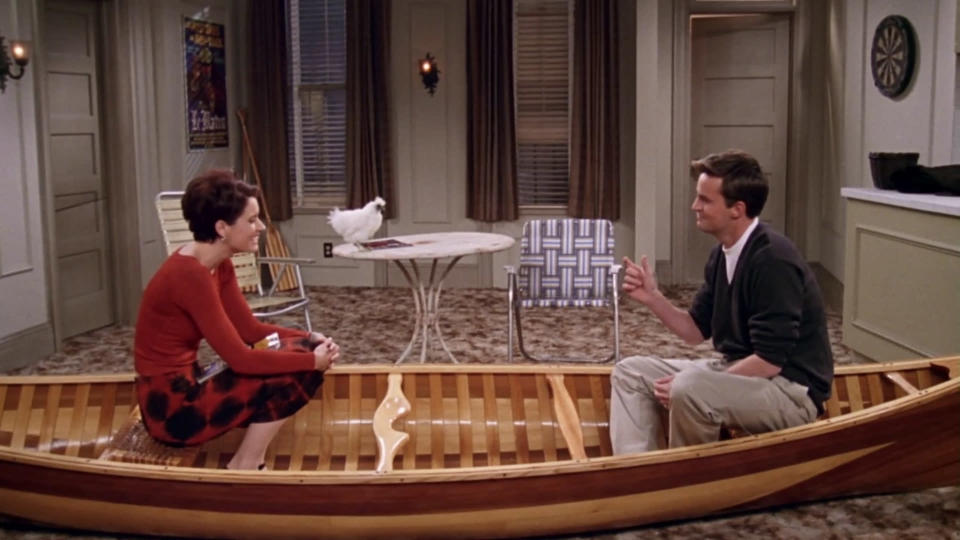 <p> Chandler&#x2019;s (obviously mutual) crush on Cathy really challenges the viewer: you&#x2019;re rooting for them to get together despite the fact that, effectively, they&#x2019;re both cheating on Joey. This ep sees flirting turn to hairdressing and hairdressing turn to kissing, but there&#x2019;s light relief from their &#x2013; and your! &#x2013; guilt by way of Ross&#x2019; &#x2018;Sound&#x2019;. Naturally Phoebe is the only one who understands his discordant blend of dog barks, explosions, and keyboard taps, though it&#x2019;s Rachel that summarises it best: &#x201C;I can&#x2019;t believe I ever let him touch me with those fingers.&#x201D; </p> <p> <strong>Best line:</strong>&#xA0;Chandler: Oh it&#x2019;s the phone, the phone&#x2019;s making sounds! </p>