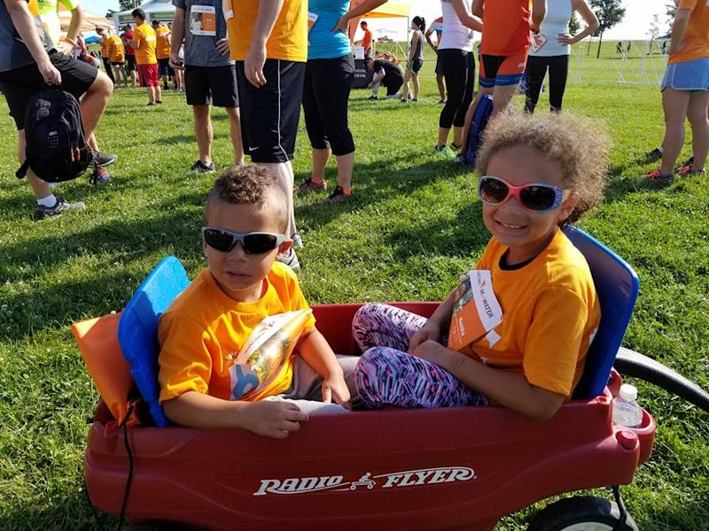 kids at a 5k walk