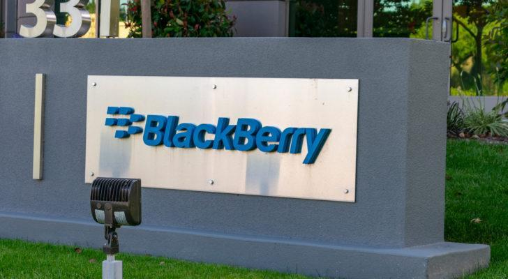 black berry (BB) logo on a sign outside of a corporate building