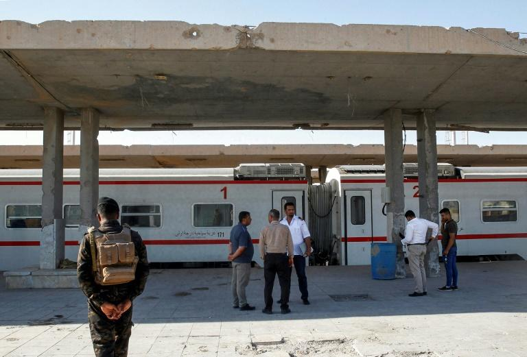 A train along the platform in Fallujah in Anbar province, part of the newly revived railway between the city and the capital Baghdad about 70 kilometres away
