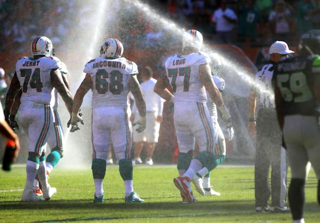 MIAMI GARDENS, FL - NOVEMBER 25: The sprinklers go off as the Miami Dolphins play against the Seattle Seahawks at Sun Life Stadium on November 25, 2012 in Miami Gardens, Florida. Miami defeated Seattle 24-21. (Photo by Marc Serota/Getty Images)