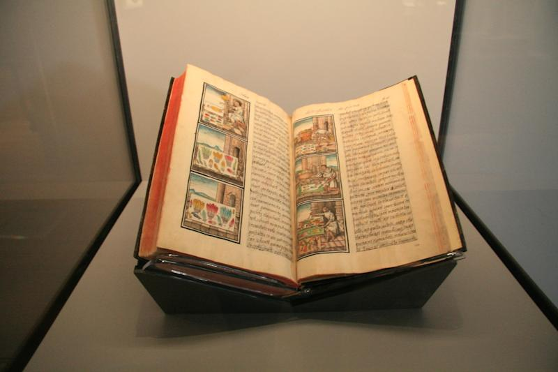 """A volume from the Florentine Codex on view at the Getty Museum in """"Golden Kingdoms"""""""
